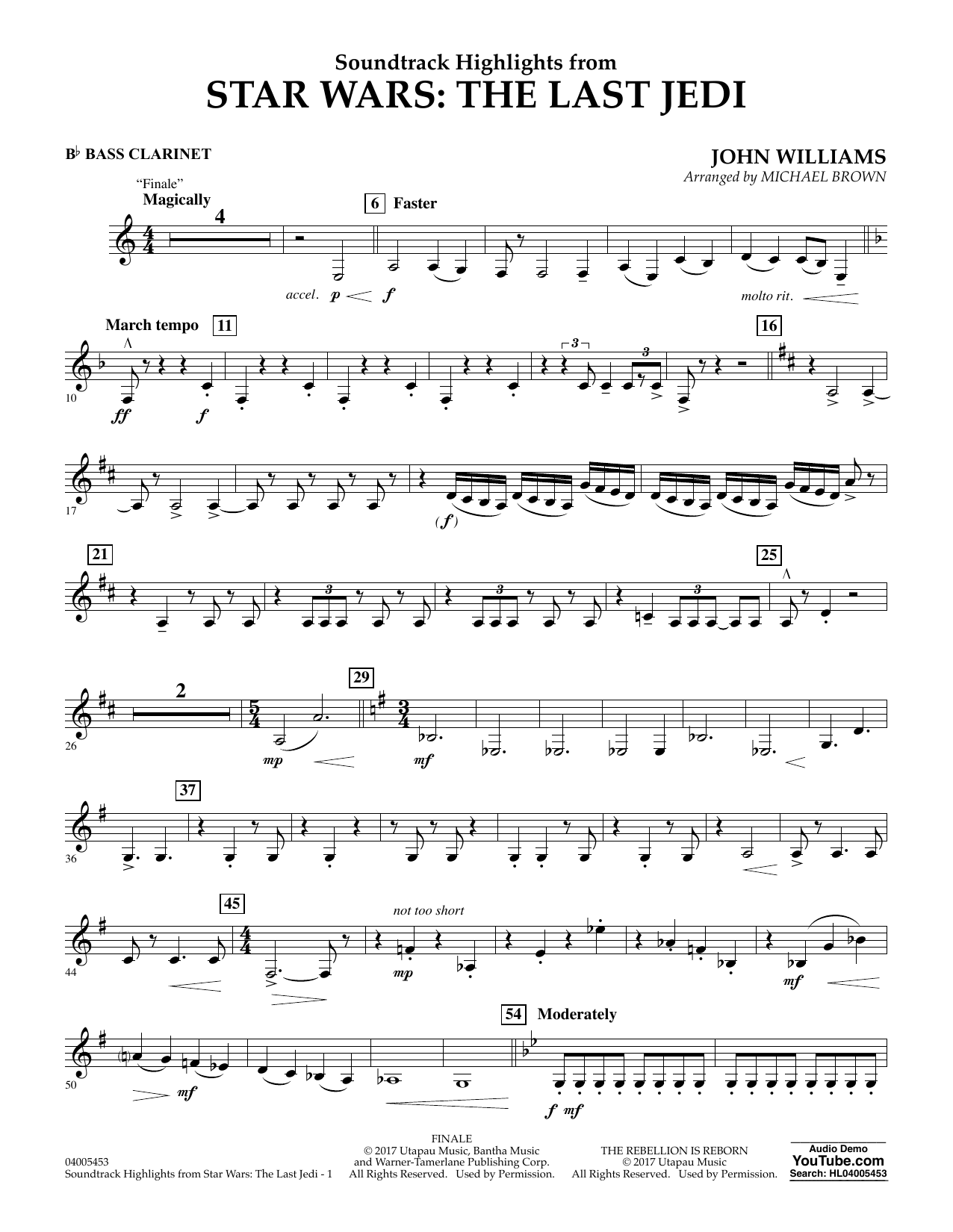 Michael Brown Soundtrack Highlights from Star Wars: The Last Jedi - Bb Bass Clarinet sheet music notes and chords. Download Printable PDF.