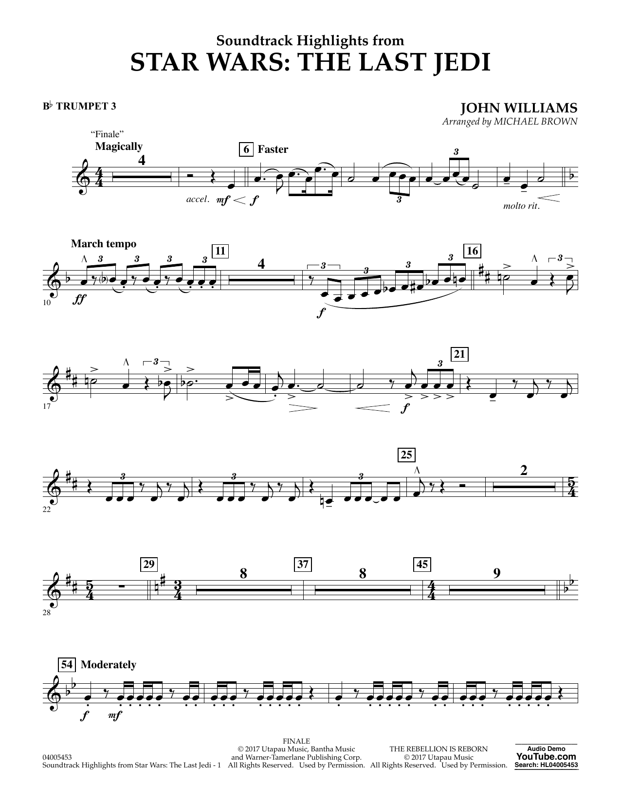 Michael Brown Soundtrack Highlights from Star Wars: The Last Jedi - Bb Trumpet 3 sheet music notes and chords. Download Printable PDF.