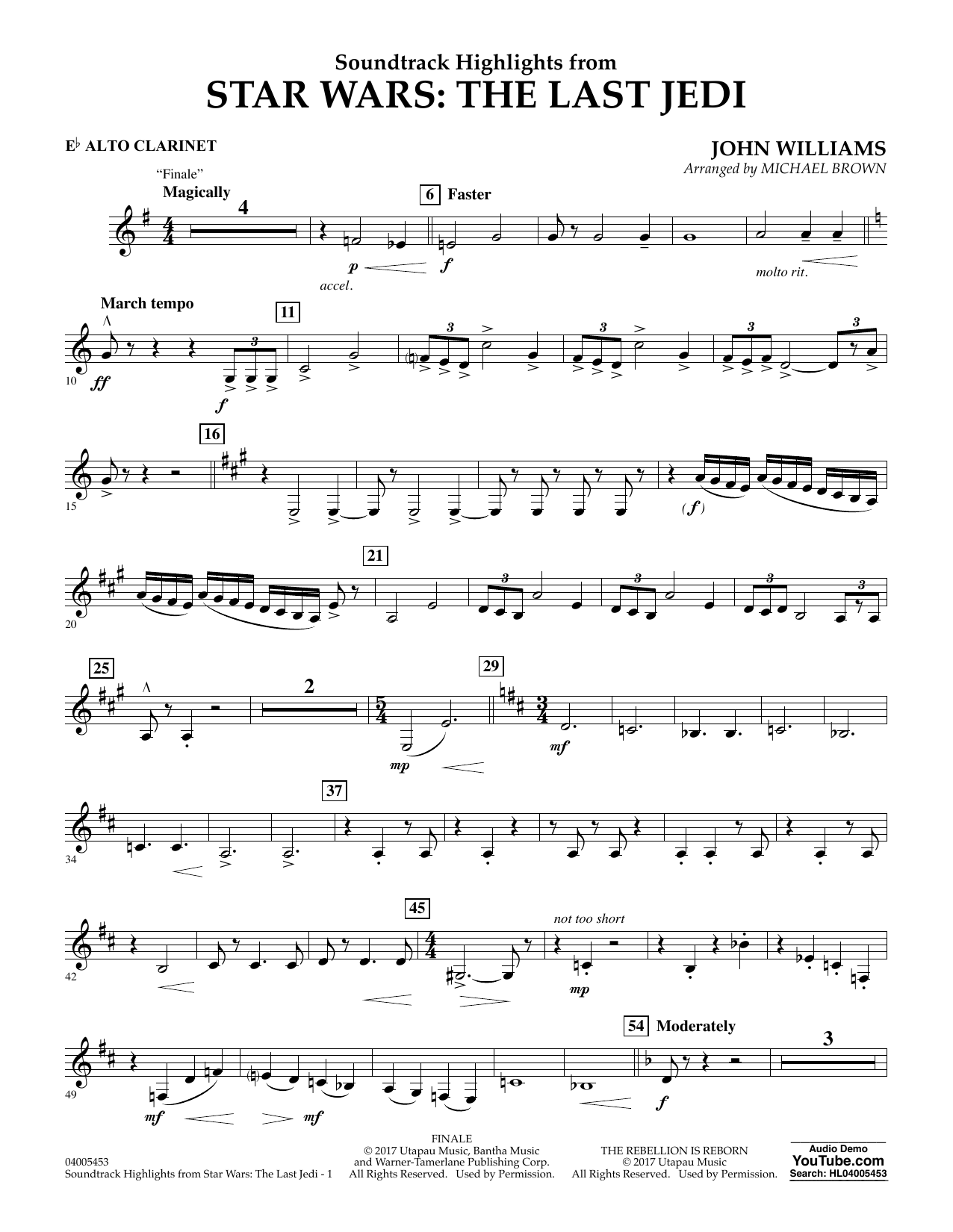 Michael Brown Soundtrack Highlights from Star Wars: The Last Jedi - Eb Alto Clarinet sheet music notes and chords. Download Printable PDF.