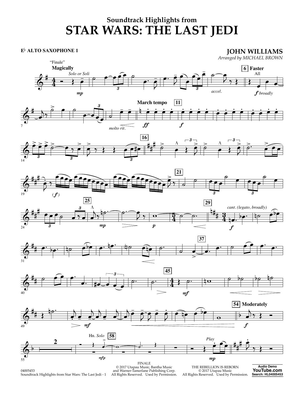 Michael Brown Soundtrack Highlights from Star Wars: The Last Jedi - Eb Alto Saxophone 1 sheet music notes and chords. Download Printable PDF.
