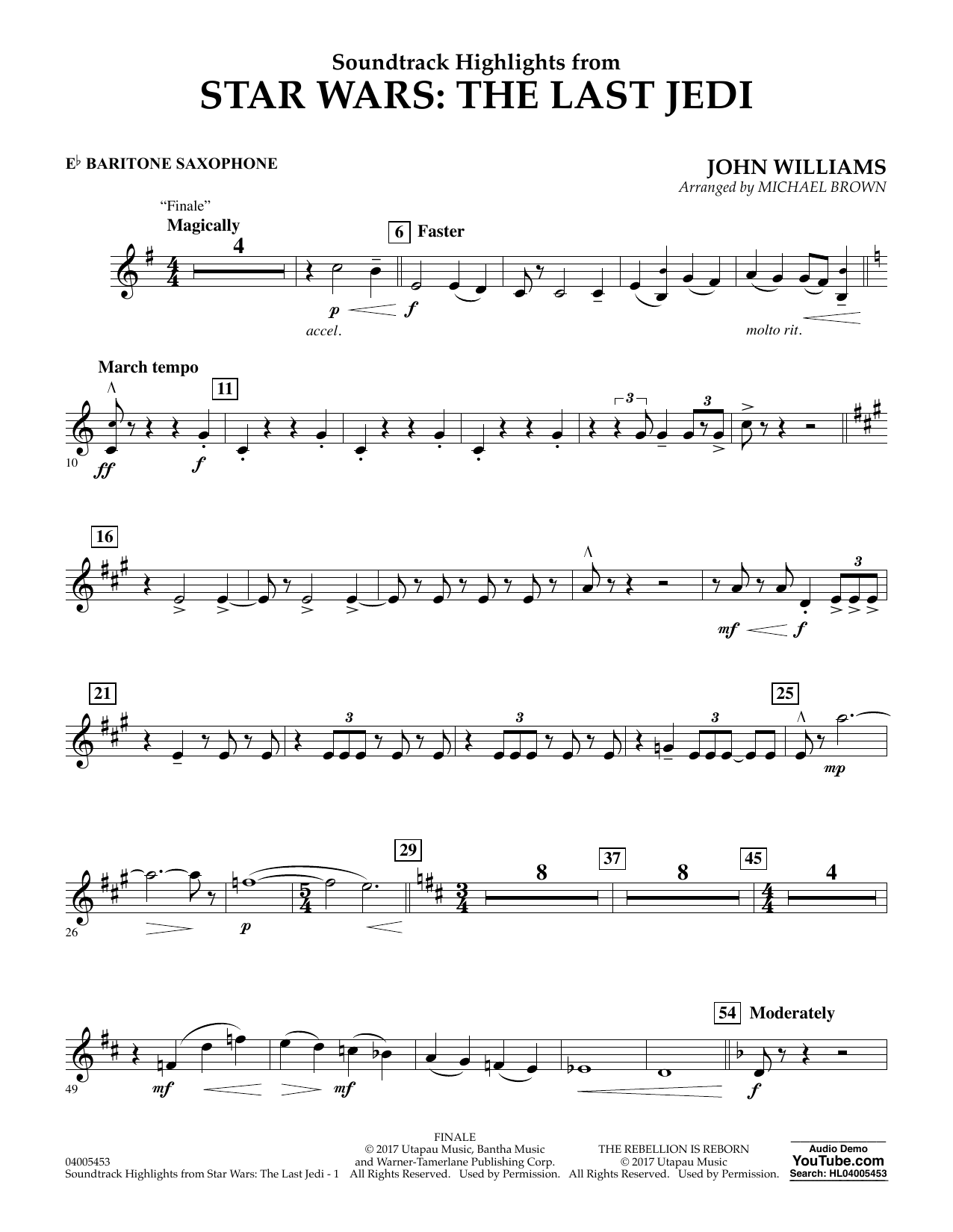 Michael Brown Soundtrack Highlights from Star Wars: The Last Jedi - Eb Baritone Saxophone sheet music notes and chords. Download Printable PDF.