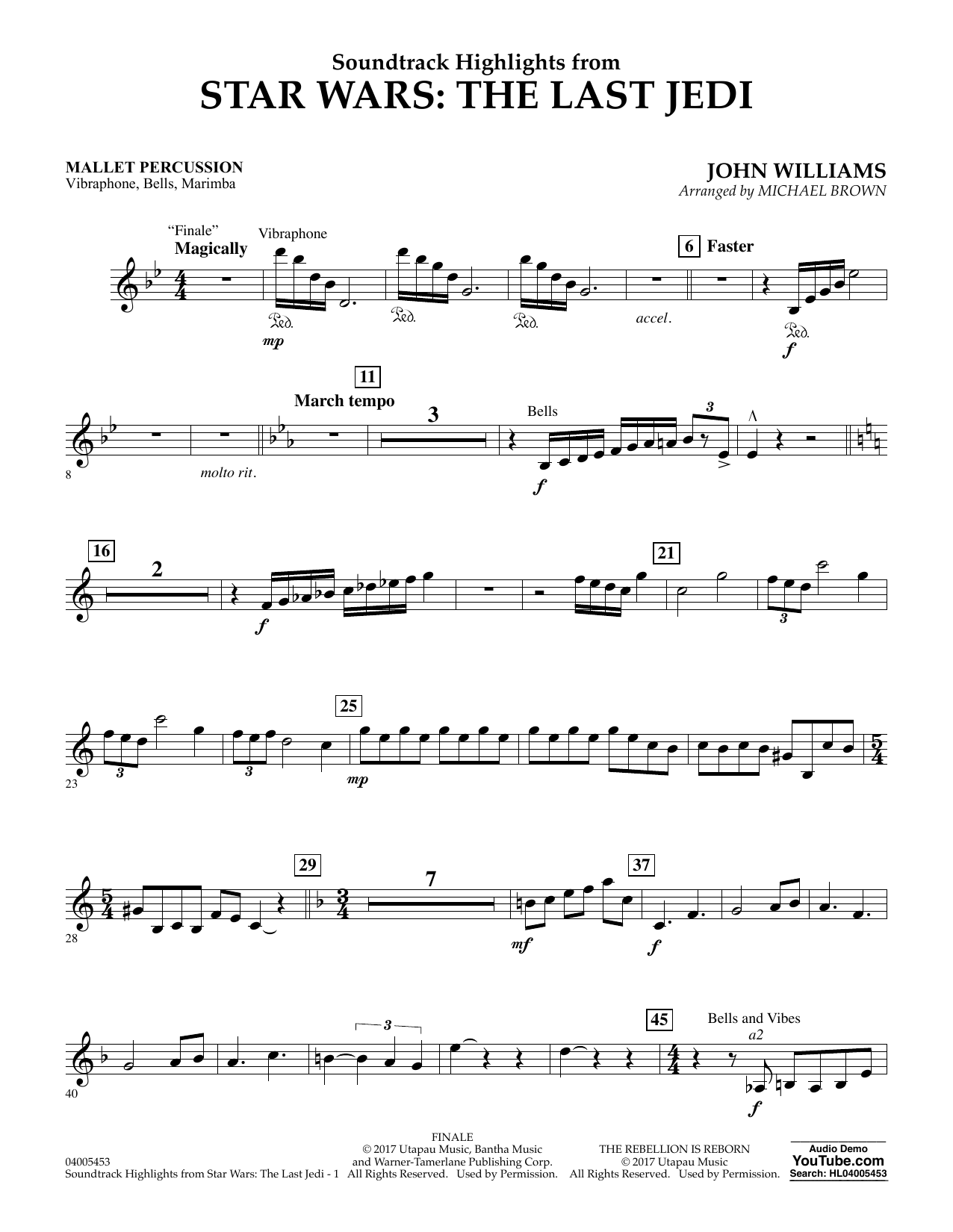 Michael Brown Soundtrack Highlights from Star Wars: The Last Jedi - Mallet Percussion sheet music notes and chords. Download Printable PDF.