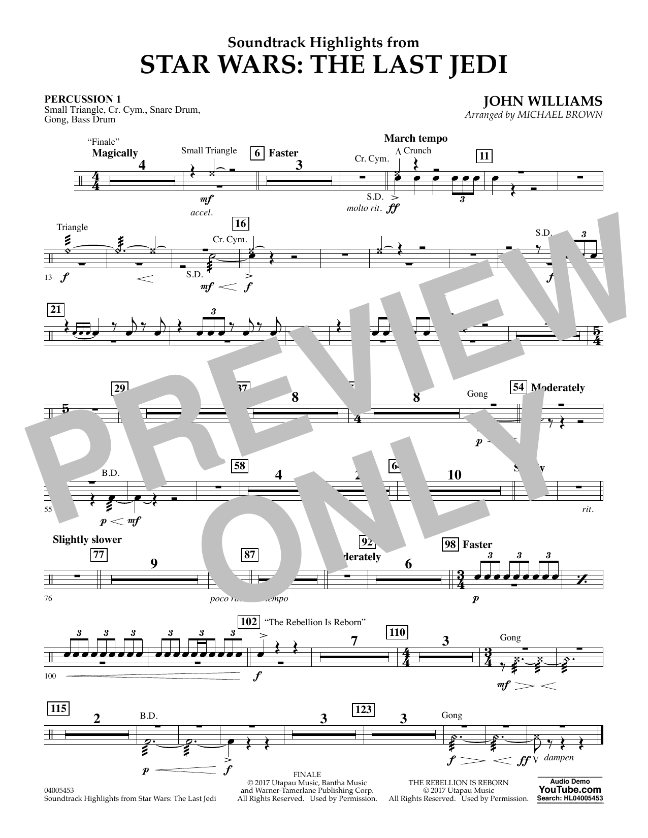Michael Brown Soundtrack Highlights from Star Wars: The Last Jedi - Percussion 1 sheet music notes and chords. Download Printable PDF.