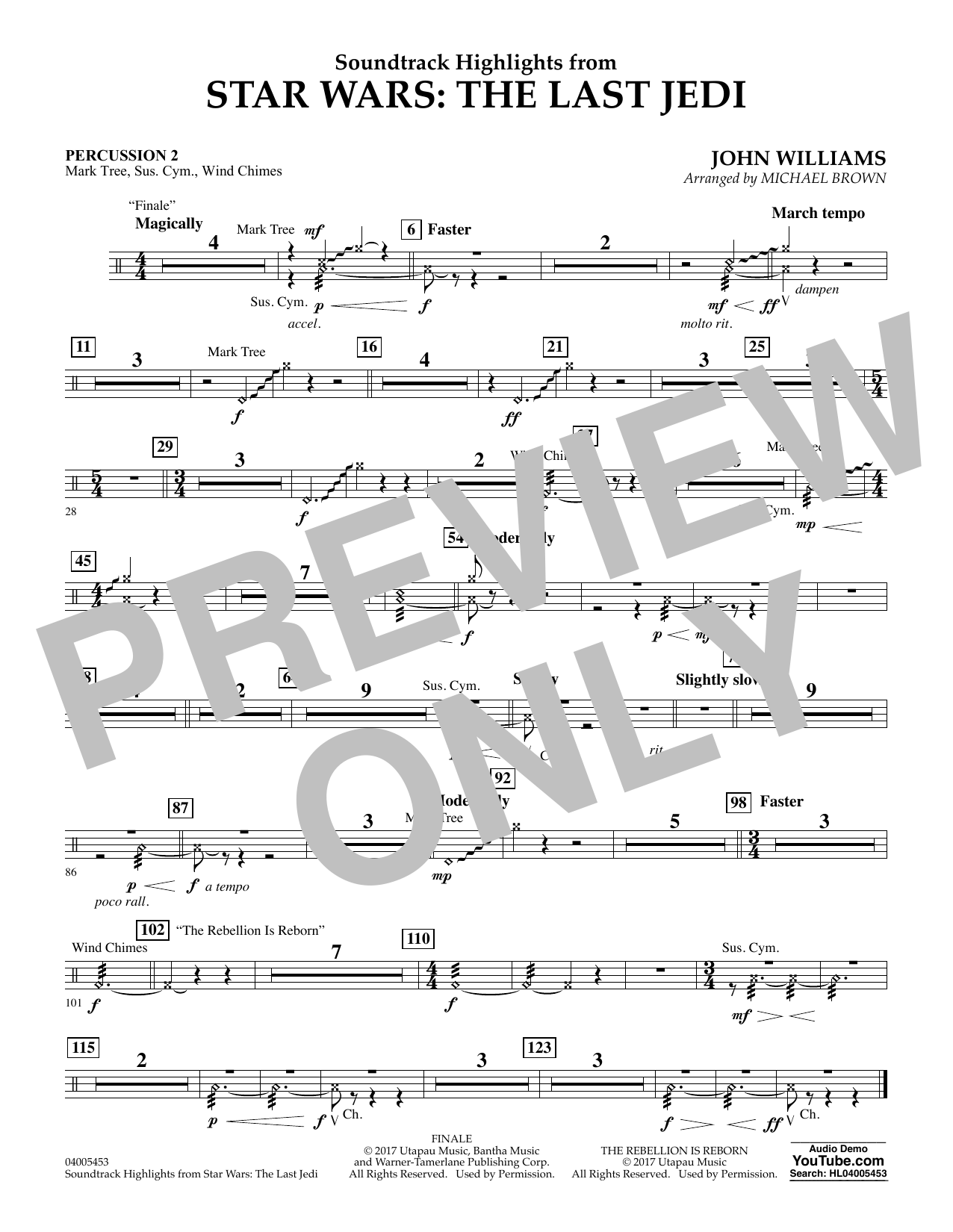 Michael Brown Soundtrack Highlights from Star Wars: The Last Jedi - Percussion 2 sheet music notes and chords. Download Printable PDF.