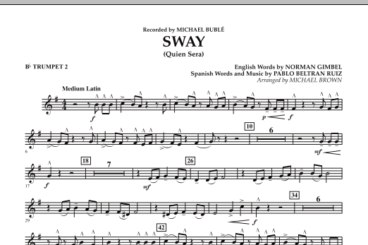 Michael Brown Sway (Quien Sera) - Bb Trumpet 2 sheet music notes and chords. Download Printable PDF.