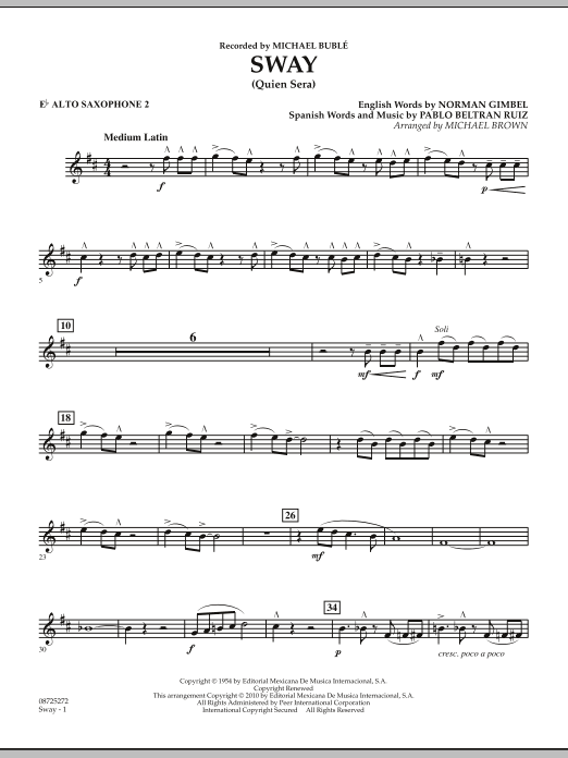 Michael Brown Sway (Quien Sera) - Eb Alto Saxophone 2 sheet music notes and chords. Download Printable PDF.