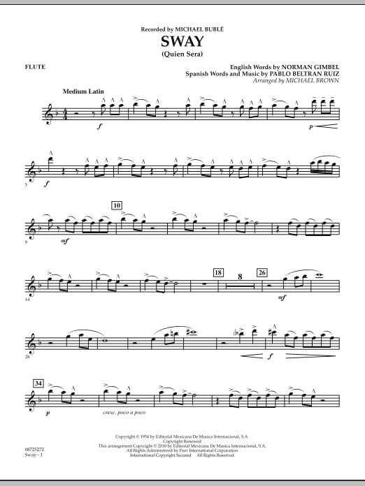 Michael Brown Sway (Quien Sera) - Flute sheet music notes and chords. Download Printable PDF.
