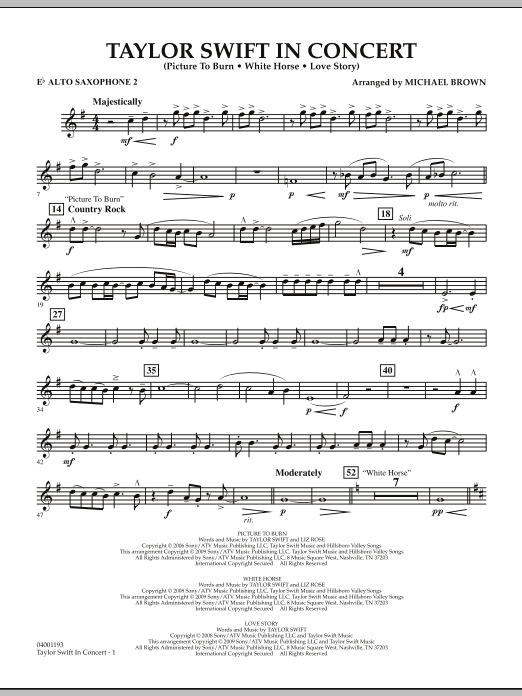 Michael Brown Taylor Swift - In Concert - Eb Alto Saxophone 2 sheet music notes and chords