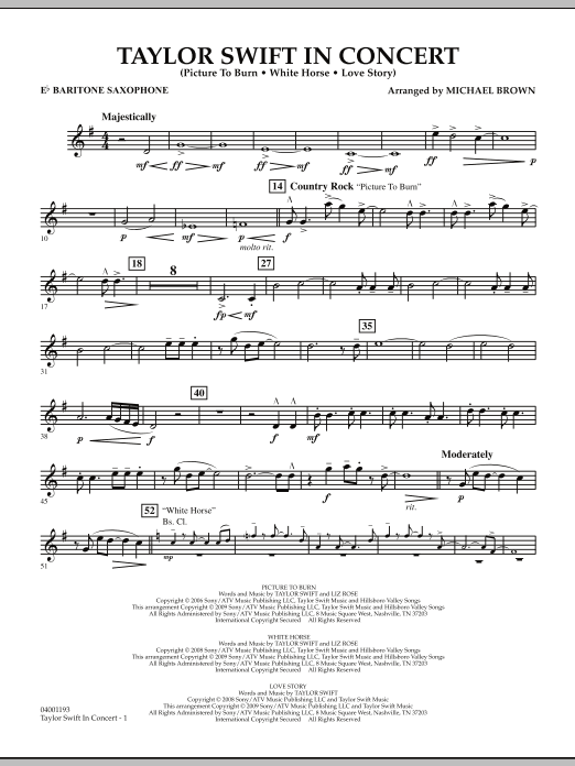 Michael Brown Taylor Swift - In Concert - Eb Baritone Saxophone sheet music notes and chords