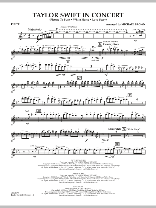 Michael Brown Taylor Swift - In Concert - Flute sheet music notes and chords