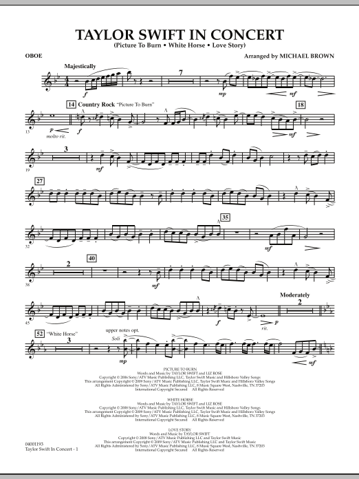 Michael Brown Taylor Swift - In Concert - Oboe sheet music notes and chords