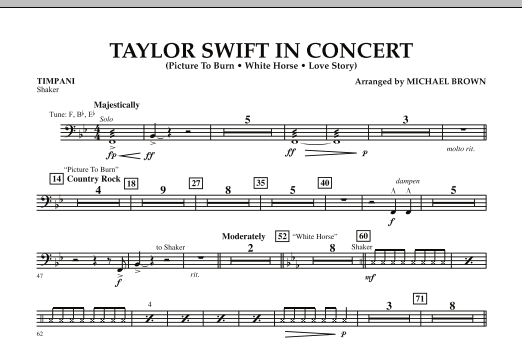 Michael Brown Taylor Swift - In Concert - Timpani sheet music notes and chords