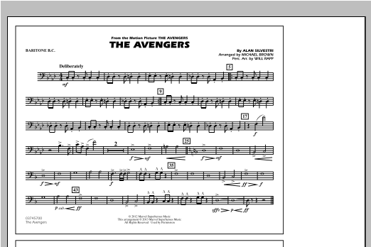 Michael Brown The Avengers - Baritone B.C. sheet music notes and chords. Download Printable PDF.