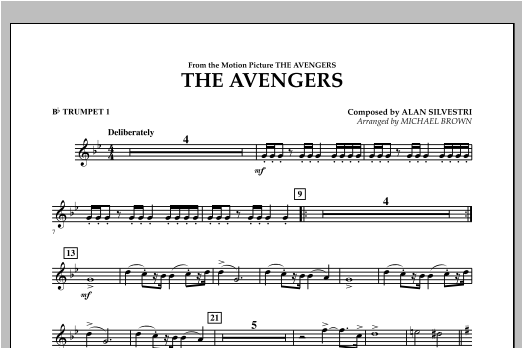 Michael Brown The Avengers - Bb Trumpet 1 sheet music notes and chords. Download Printable PDF.