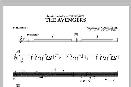 Michael Brown The Avengers - Bb Trumpet 2 sheet music notes and chords. Download Printable PDF.