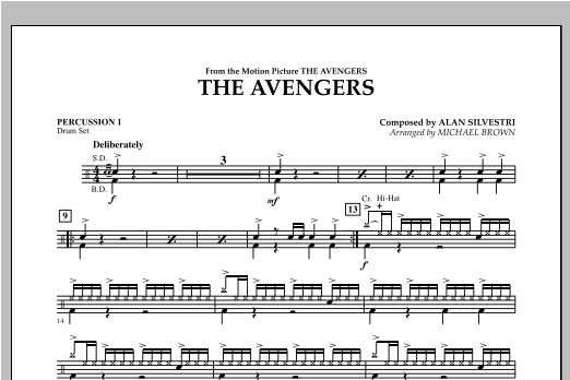 Michael Brown The Avengers - Percussion 1 sheet music notes and chords. Download Printable PDF.