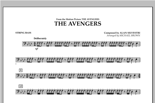 Michael Brown The Avengers - String Bass sheet music notes and chords. Download Printable PDF.