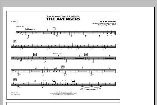 Michael Brown The Avengers - Timpani sheet music notes and chords. Download Printable PDF.