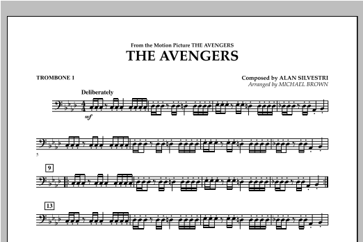Michael Brown The Avengers - Trombone 1 sheet music notes and chords. Download Printable PDF.