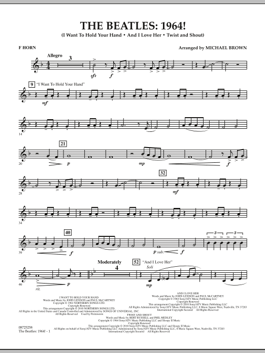 Michael Brown The Beatles - 1964! - F Horn sheet music notes and chords. Download Printable PDF.