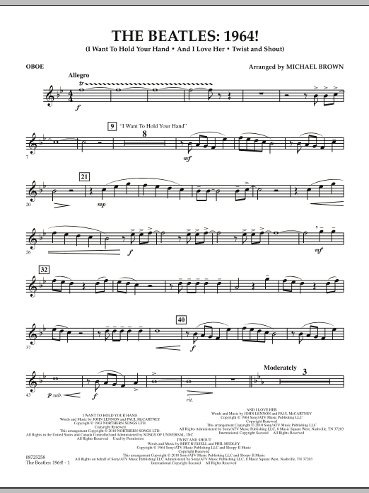 Michael Brown The Beatles - 1964! - Oboe sheet music notes and chords. Download Printable PDF.