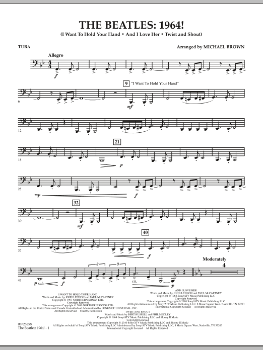 Michael Brown The Beatles - 1964! - Tuba sheet music notes and chords. Download Printable PDF.