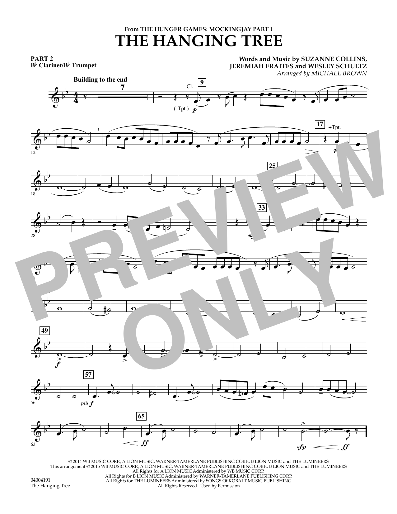 Michael Brown The Hanging Tree (from The Hunger Games: Mockingjay Part 1) - Pt.2 - Bb Clarinet/Bb Trumpet sheet music notes and chords. Download Printable PDF.