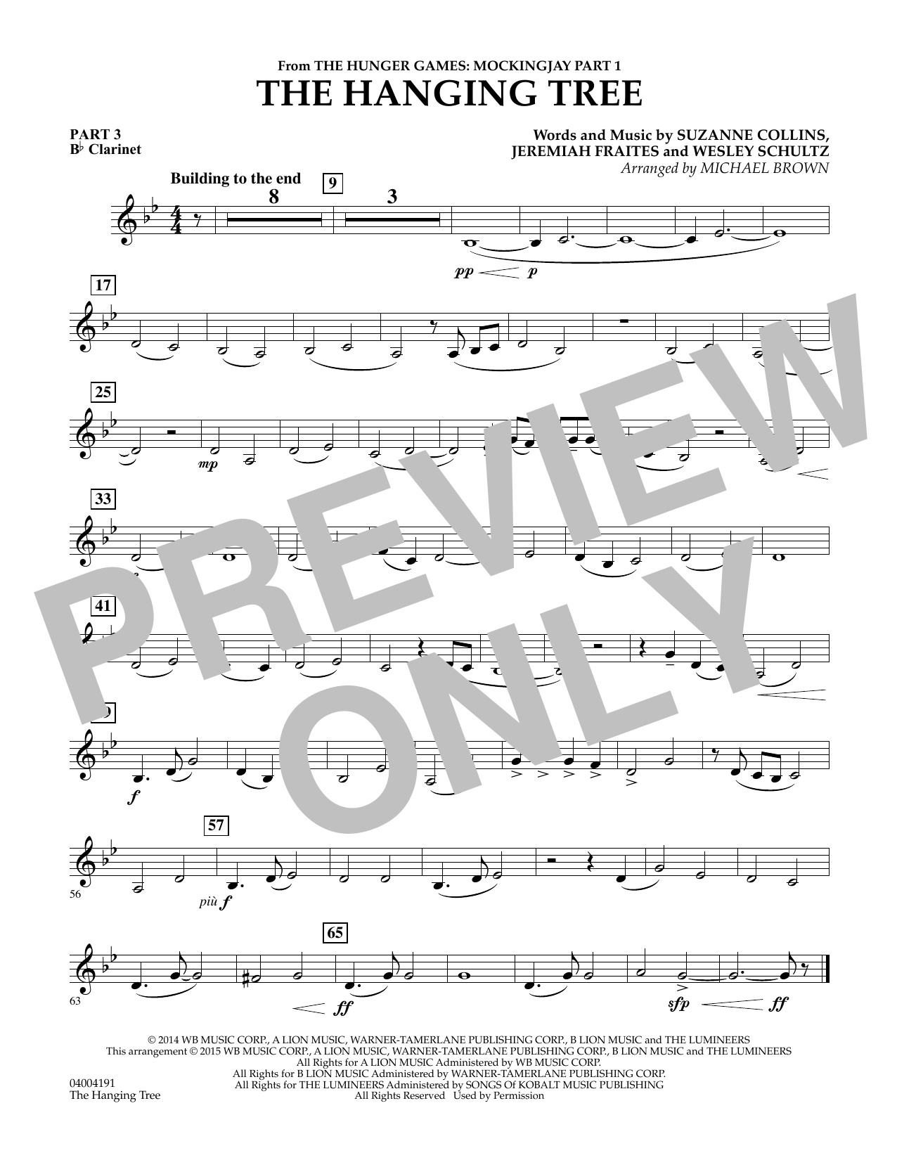 Michael Brown The Hanging Tree (from The Hunger Games: Mockingjay Part 1) - Pt.3 - Bb Clarinet sheet music notes and chords. Download Printable PDF.