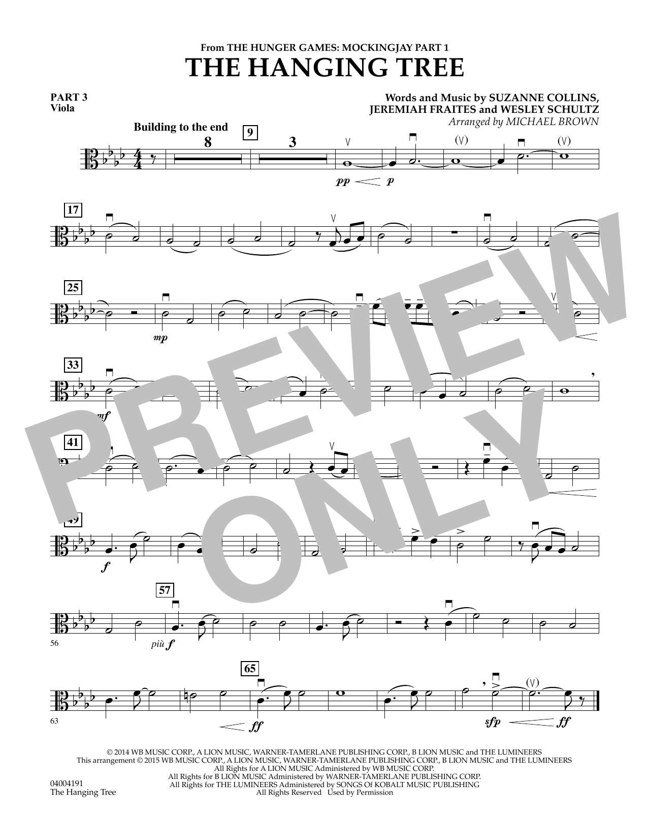 Michael Brown The Hanging Tree (from The Hunger Games: Mockingjay Part 1) - Pt.3 - Viola sheet music notes and chords. Download Printable PDF.