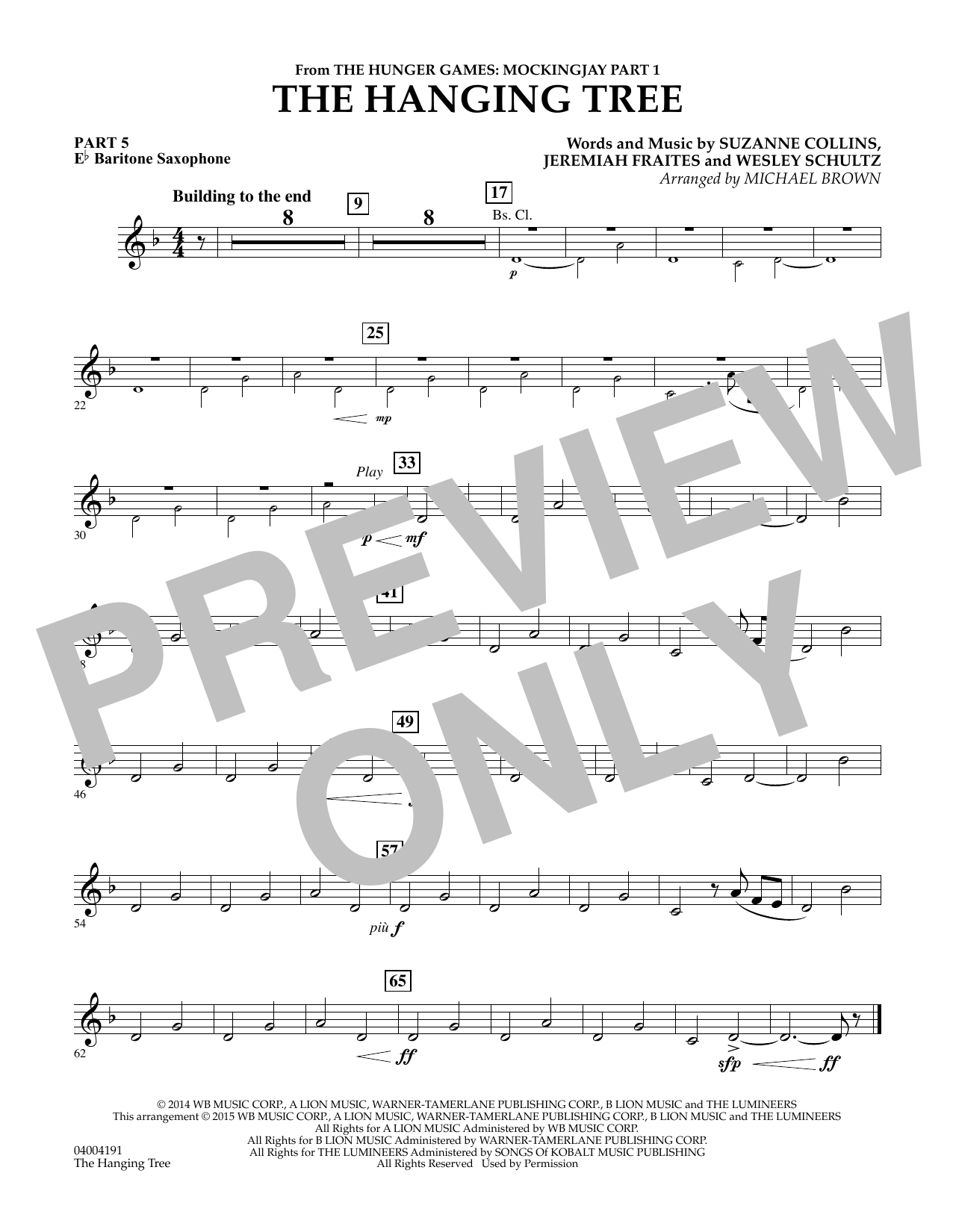 Michael Brown The Hanging Tree (from The Hunger Games: Mockingjay Part 1) - Pt.5 - Eb Baritone Saxophone sheet music notes and chords. Download Printable PDF.