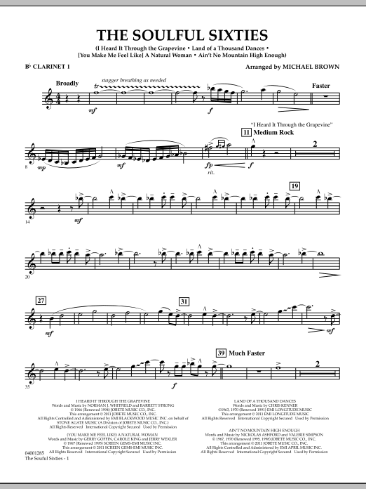 Michael Brown The Soulful Sixties - Bb Clarinet 1 sheet music notes and chords. Download Printable PDF.