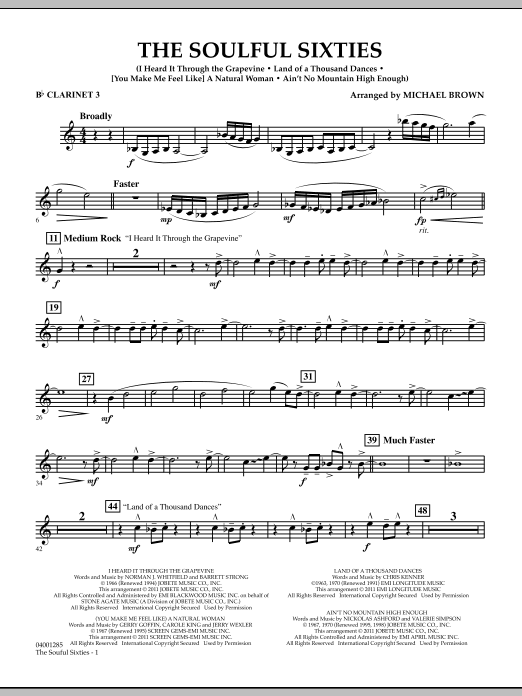 Michael Brown The Soulful Sixties - Bb Clarinet 3 sheet music notes and chords. Download Printable PDF.