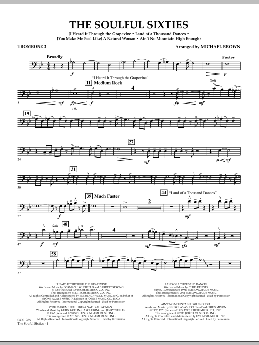Michael Brown The Soulful Sixties - Trombone 2 sheet music notes and chords. Download Printable PDF.