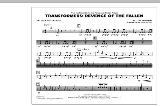 Michael Brown Transformers: Revenge Of The Fallen - Multiple Bass Drums sheet music notes and chords. Download Printable PDF.