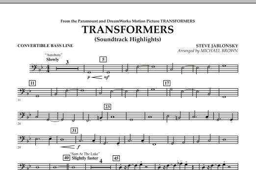 Michael Brown Transformers Soundtrack Highlights - Convertible Bass Line sheet music notes and chords. Download Printable PDF.
