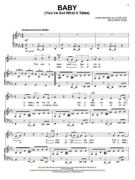 Michael Buble Baby (You've Got What It Takes) sheet music notes and chords. Download Printable PDF.