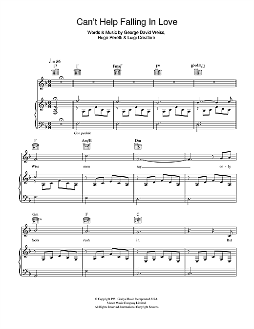 Michael Buble Can't Help Falling In Love sheet music notes and chords. Download Printable PDF.
