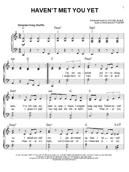 Michael Buble Haven't Met You Yet sheet music notes and chords. Download Printable PDF.