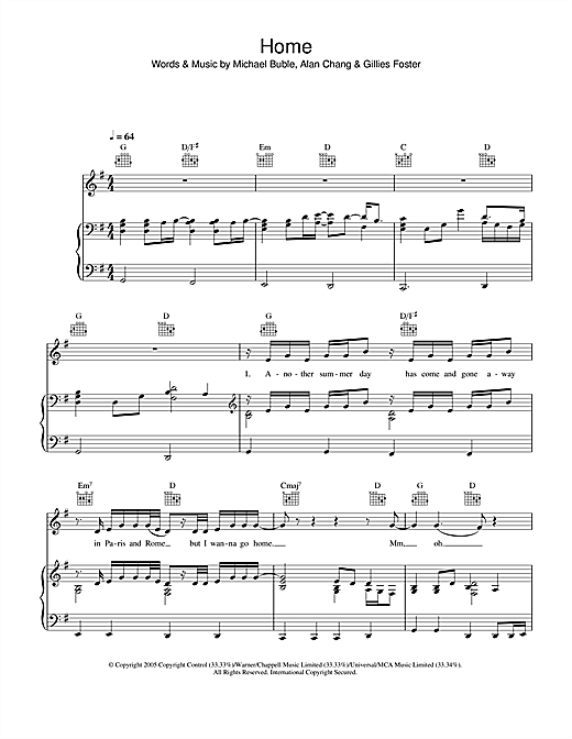 Michael Buble Home sheet music notes and chords. Download Printable PDF.