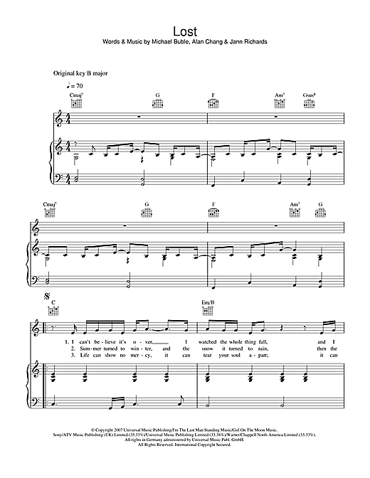 Michael Buble Lost sheet music notes and chords