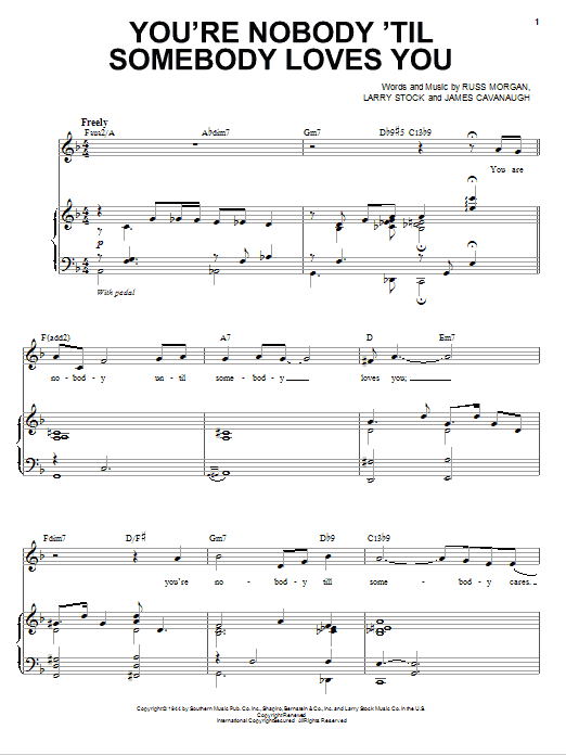 Michael Buble You're Nobody 'Til Somebody Loves You sheet music notes and chords. Download Printable PDF.