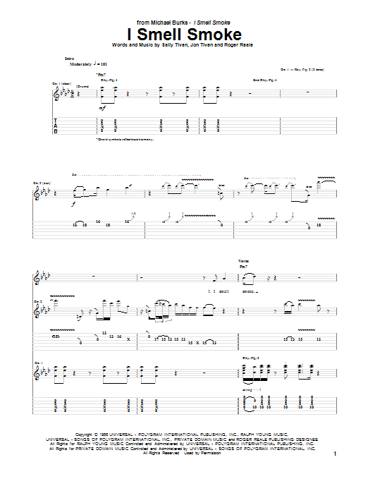 Michael Burks I Smell Smoke sheet music notes and chords. Download Printable PDF.
