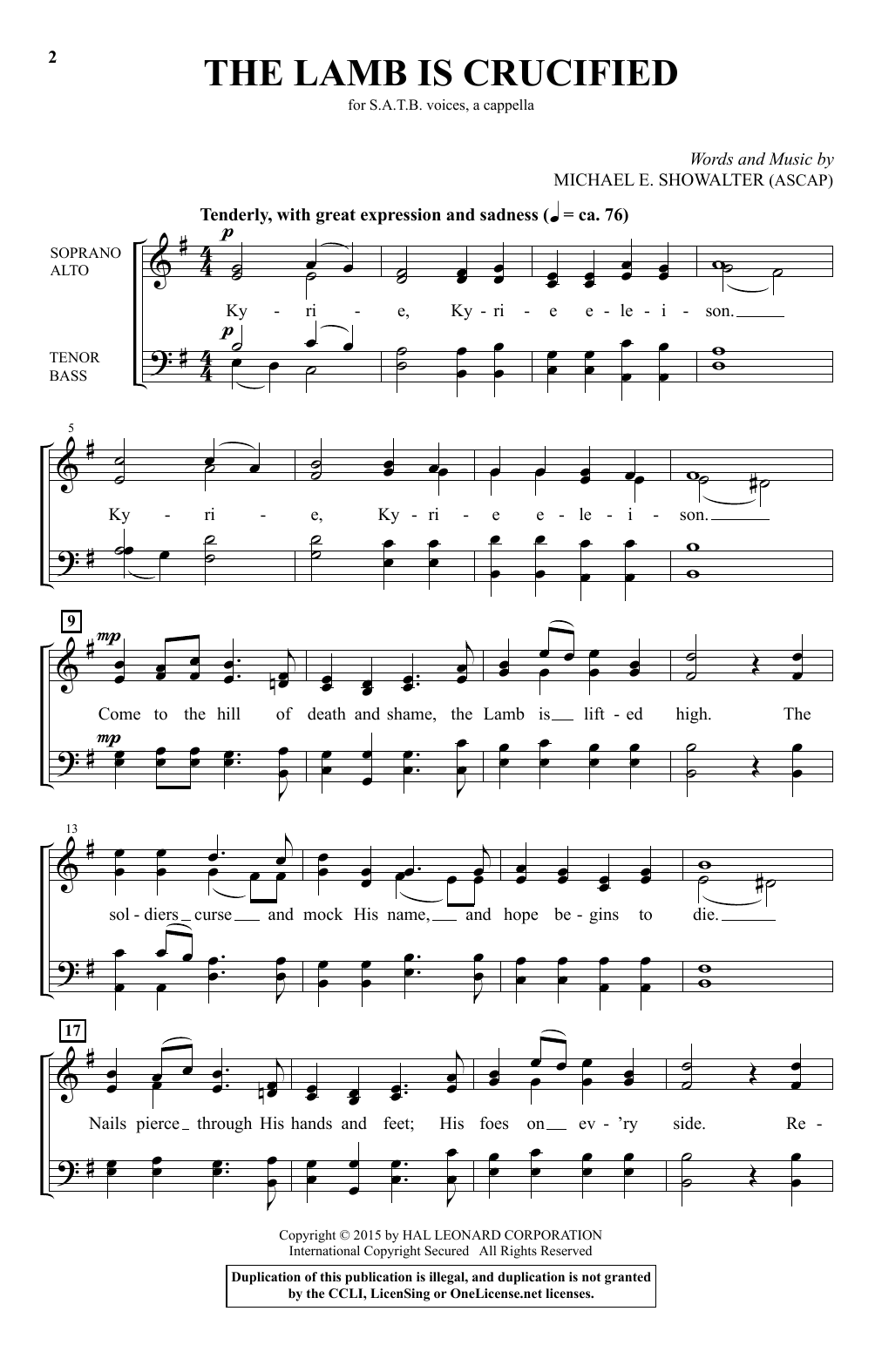 Michael E. Showalter The Lamb Is Crucified sheet music notes and chords. Download Printable PDF.
