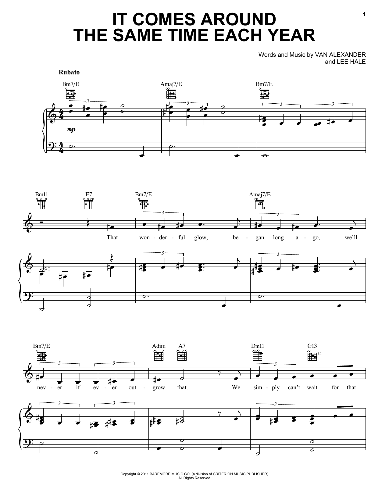 Michael Feinstein It Comes Around The Same Time Each Year sheet music notes and chords. Download Printable PDF.