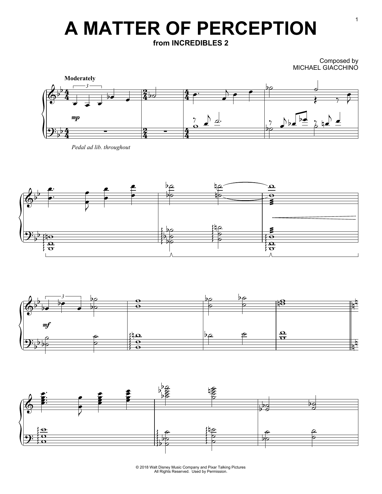 Michael Giacchino A Matter Of Perception (from The Incredibles 2) sheet music notes and chords. Download Printable PDF.