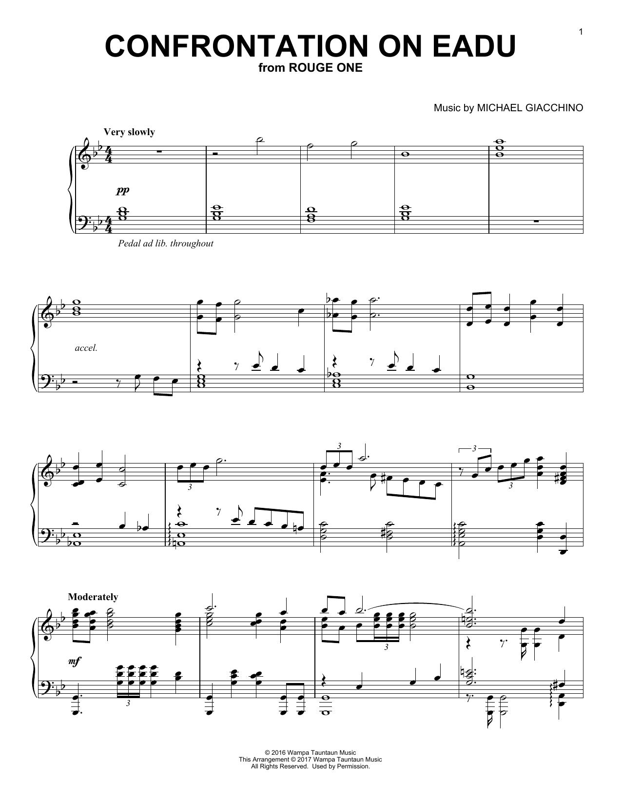 Michael Giacchino Confrontation On Eadu sheet music notes and chords. Download Printable PDF.