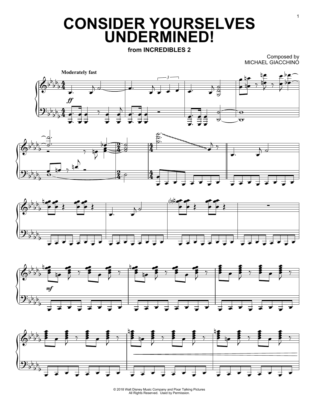 Michael Giacchino Consider Yourself Underminded! (from The Incredibles 2) sheet music notes and chords. Download Printable PDF.