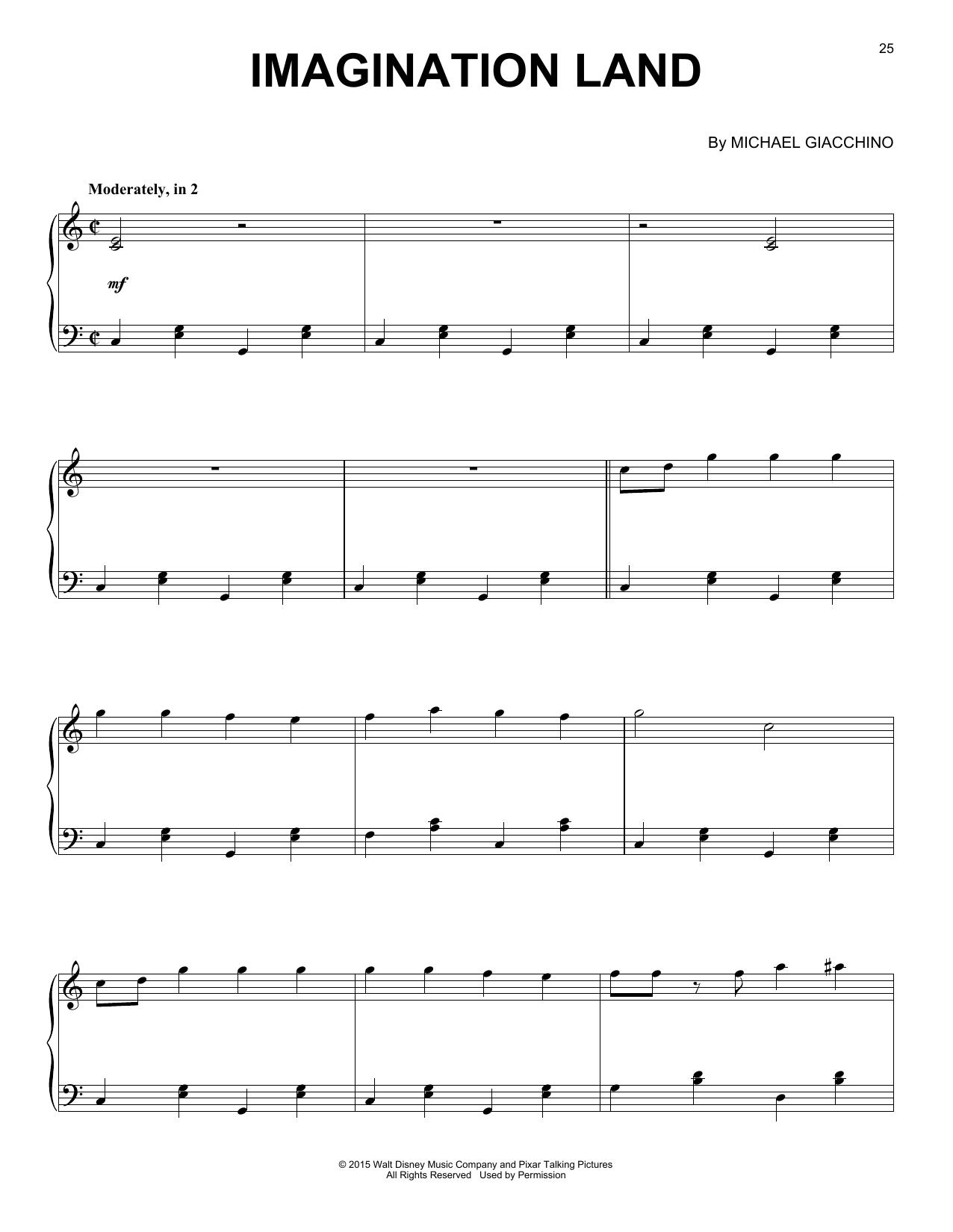 Michael Giacchino Imagination Land sheet music notes and chords. Download Printable PDF.