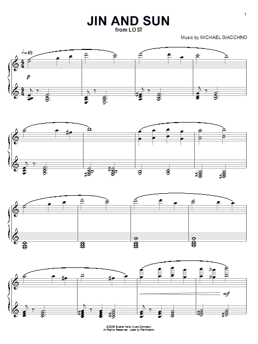 Michael Giacchino Jin And Sun (from Lost) sheet music notes and chords. Download Printable PDF.