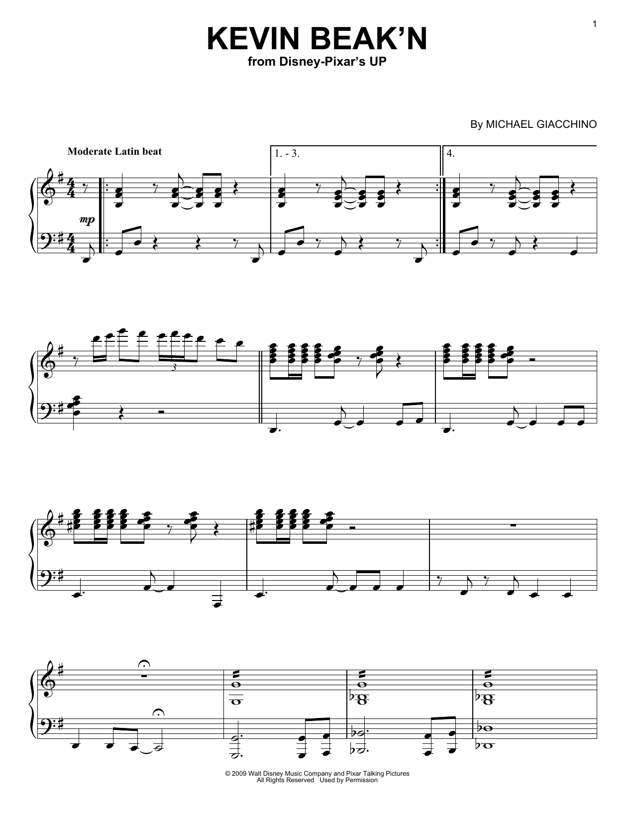 Michael Giacchino Kevin Beak'n sheet music notes and chords. Download Printable PDF.